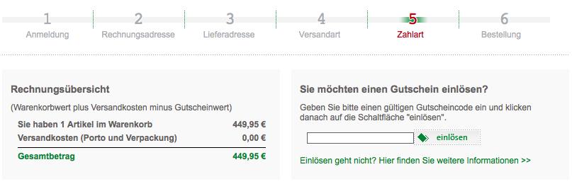 Gutschein Feld - Warenkorb