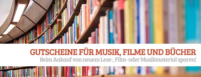 Gutscheine für Musik, Filme und Bücher