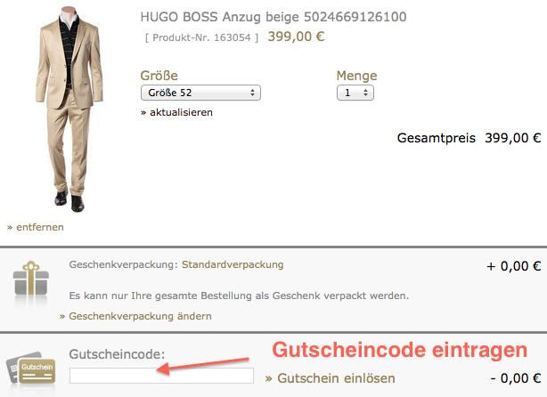 Gutscheincode im Warenkorb eintragen