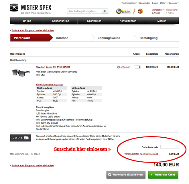 MisterSpex Gutschein einlsen