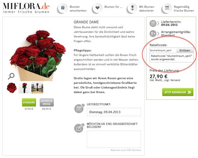 Miflora Gutschein / Rabatcode eintragen