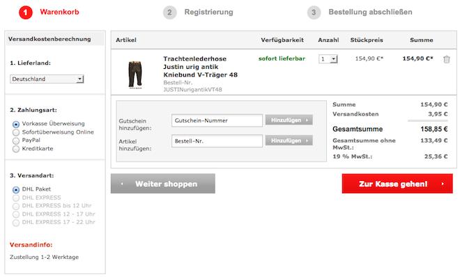 Stockerpoint Gutschein-Nummer bei trachten-dirndl-shop.de im Warenkorb eintragen