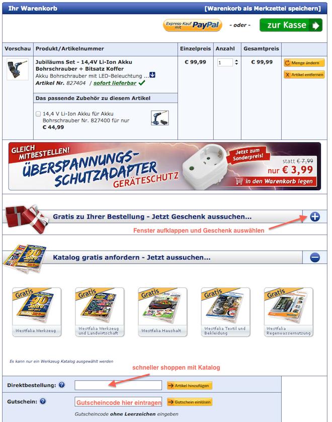 Westfalia-Gutscheincode im Warenkorb einsetzen